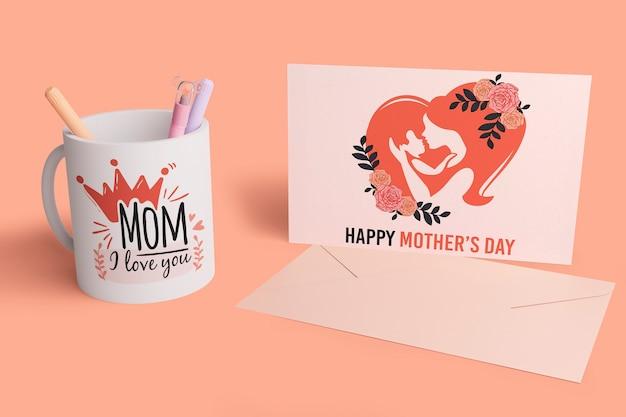 Cartão de dia das mães com conceito de mock-up