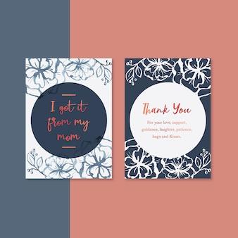 Cartão de dia das mães com flores de contraste