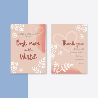 Cartão de dia das mães com flores elegantes