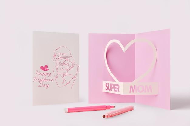 Cartão de dia das mães com maquete