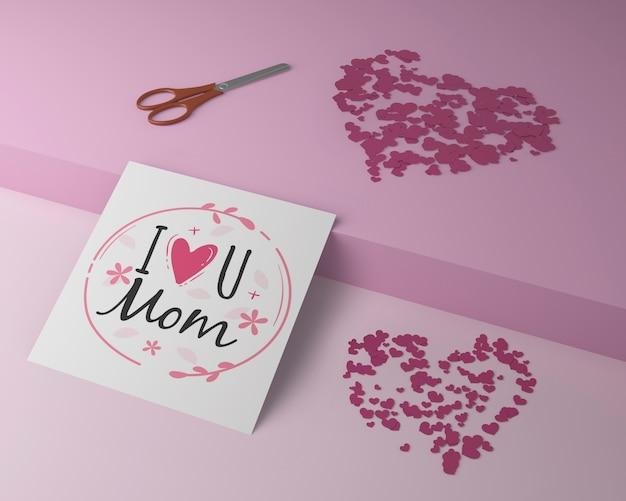 Cartão de dia das mães comemoração com conceito de mock-up