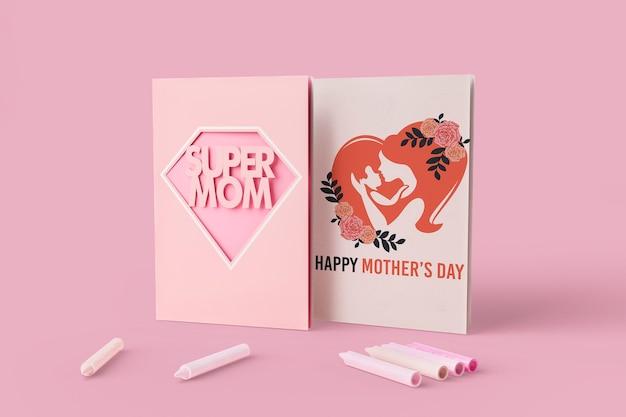Cartão de dia das mães comemoração com maquete