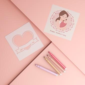 Cartão de dia das mães internacional e marcadores com maquete