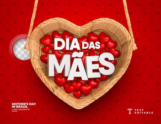 Cartão de dia das mães no brasil com cesta e corações 3d render.