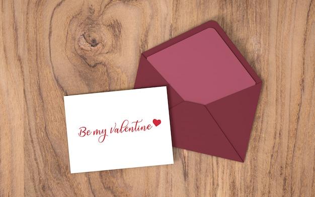 Cartão de dia dos namorados com envelope