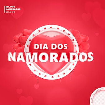 Cartão de dia dos namorados no brasil design de modelo de renderização em 3d