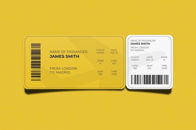 Cartão de embarque ou design de maquete de ingresso de evento