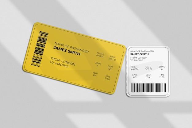 Cartão de embarque ou maquete de bilhete com sobreposição de sombra Psd Premium