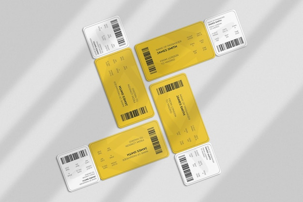 Cartão de embarque ou maquete de bilhete com sobreposição de sombra