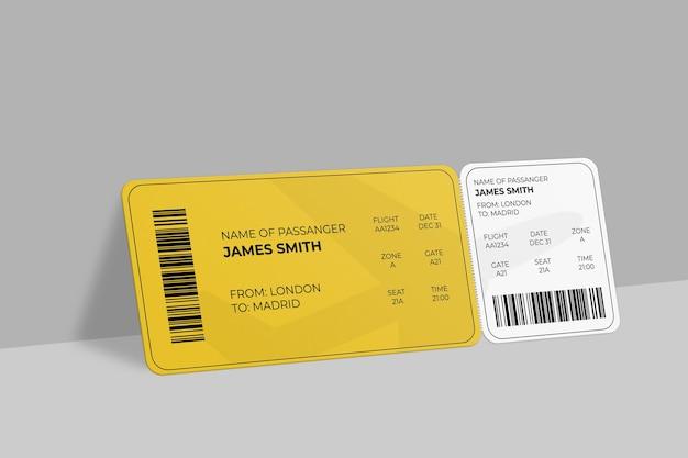 Cartão de embarque realista ou design de maquete de ingresso de evento Psd Premium