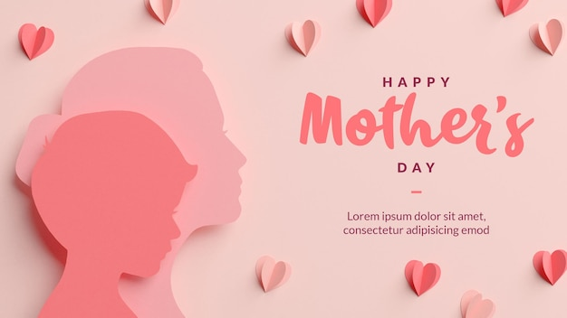 Cartão de feliz dia das mães, modelo de silhuetas de mãe e filho