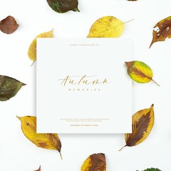 Cartão de folhas de outono