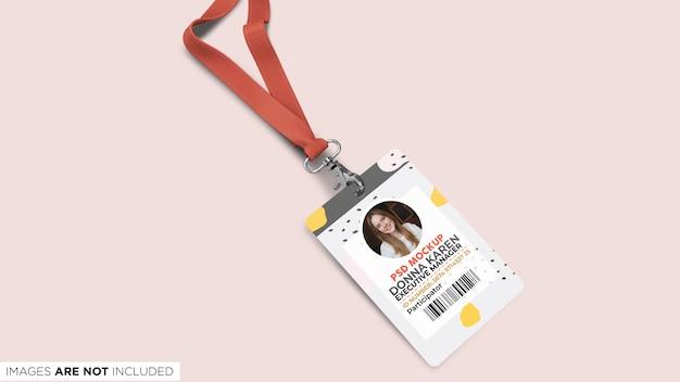 Cartão de identificação corporativa com lanyard top view psd mockup
