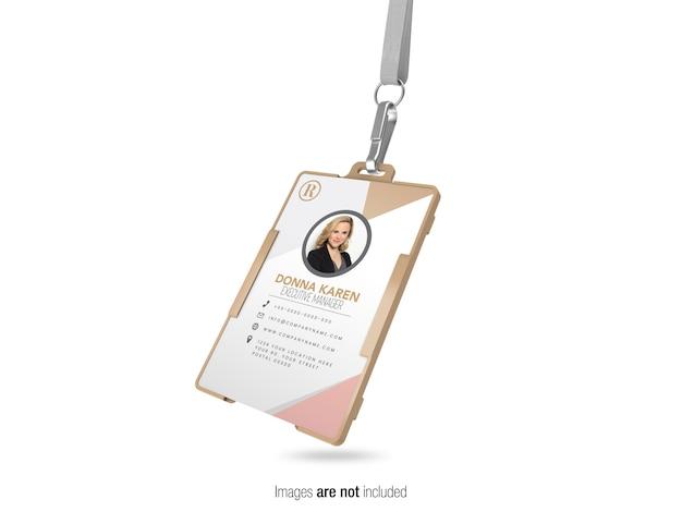 Cartão de identificação corporativa com maquete de exibição de perspectiva de faixa