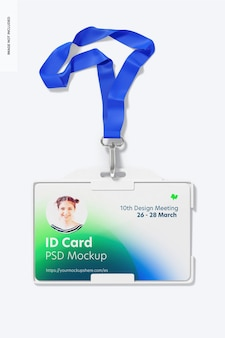 Cartão de identificação horizontal com modelo de corda