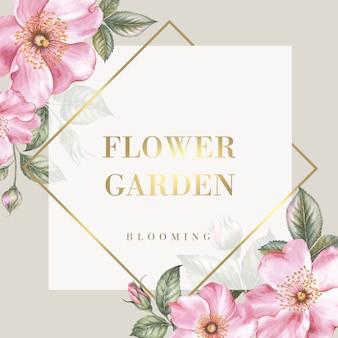 Cartão de modelo com lugar de texto e flores de sakura.