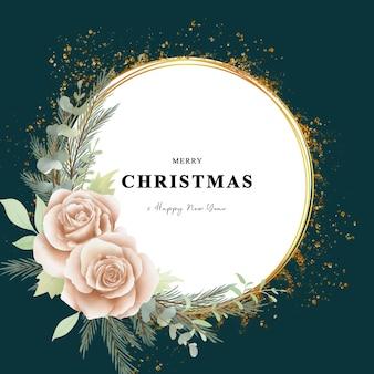 Cartão de natal com flores em aquarela e efeito dourado