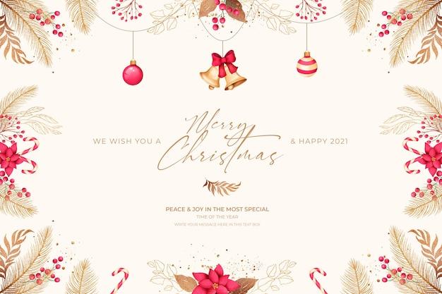 Cartão de natal mínimo com enfeites vermelhos e dourados