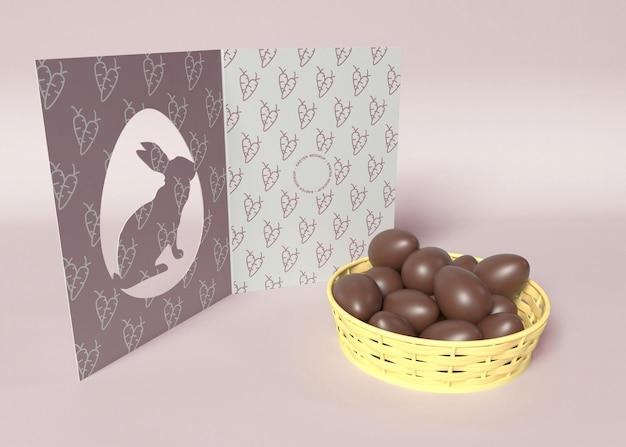 Cartão de páscoa com maquete de chocolates