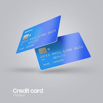 Cartão de plástico realista na mão maquete