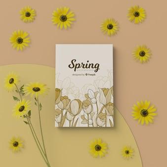 Cartão de primavera com moldura floral desabrocham 3d