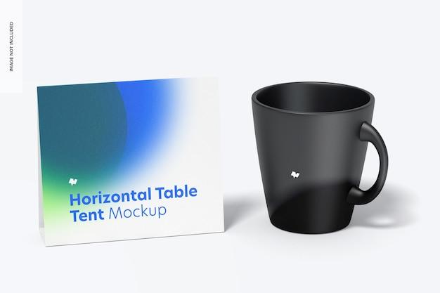 Cartão de tenda de mesa horizontal com maquete de caneca