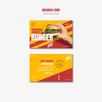 Cartão de visita americano da comida do cheeseburger saboroso