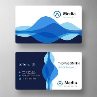 Cartão de visita azul ondulado elegante