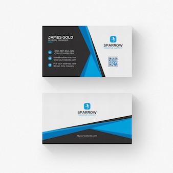 Cartão de visita branco e preto com detalhes azuis