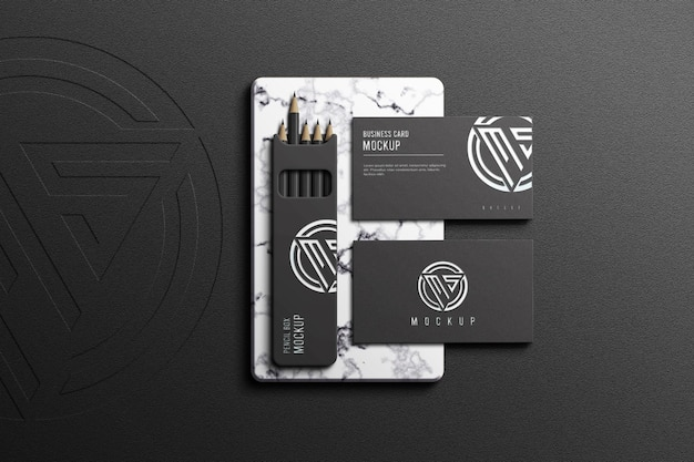 Cartão de visita com maquete de caixa de lápis