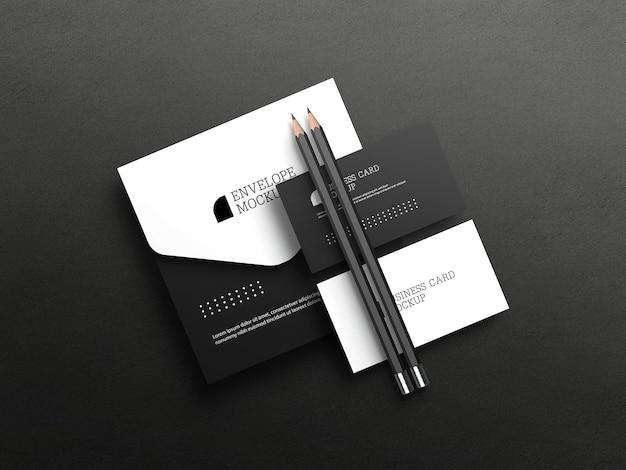Cartão de visita com maquete de envelope