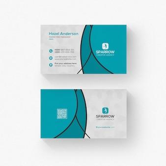 Cartão de visita com maquete de formas onduladas isolado