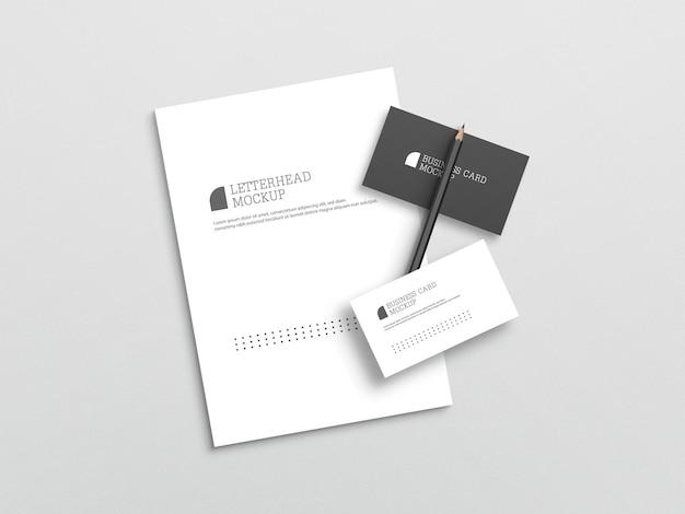 Cartão de visita com maquete de papel timbrado