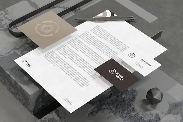 Cartão de visita com modelo de papel timbrado de marca e papel timbrado