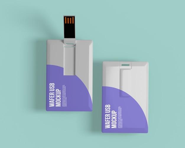 Cartão de visita com modelo de unidade flash usb