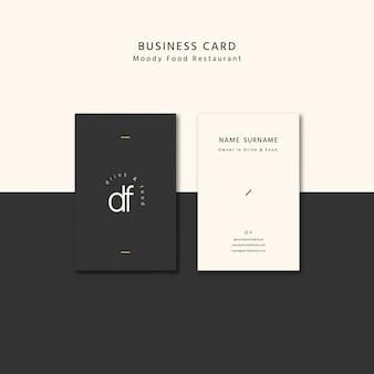 Cartão de visita de comida temperamental