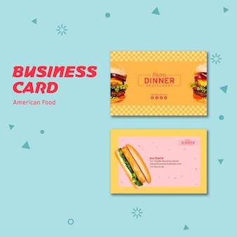 Cartão de visita de conceito de comida americana