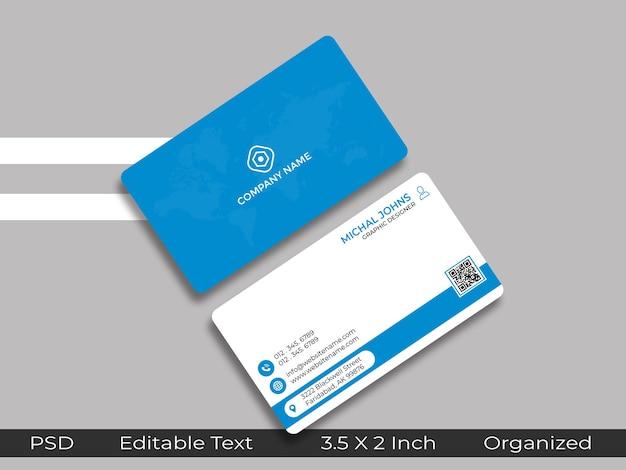 Cartão de visita de design mínimo com maquete qr placeholder