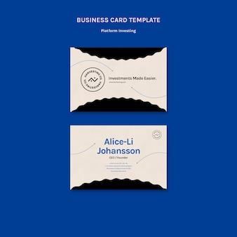 Cartão de visita de investimento em plataforma