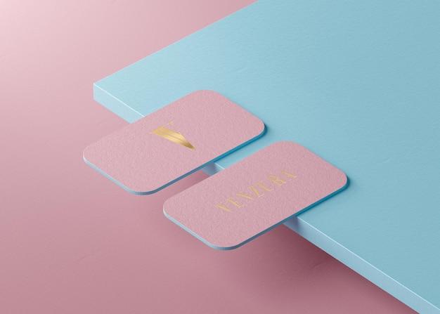 Cartão de visita de luxo rosa ouro para identidade de marca renderização em 3d