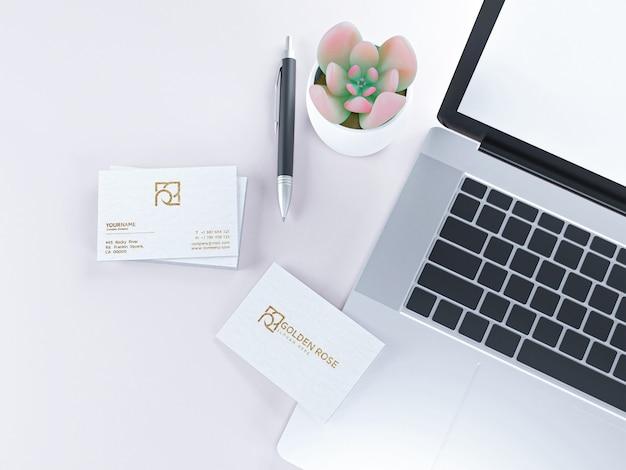 Cartão de visita de luxo texturizado em maquete de papel branco