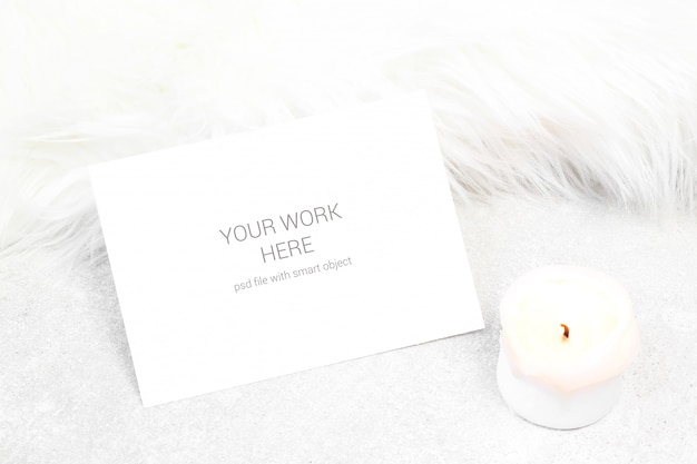 Cartão de visita de maquete com vela