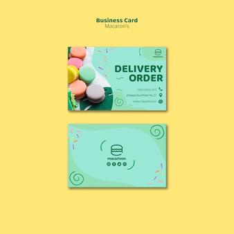 Cartão de visita de ordem de entrega de macarons