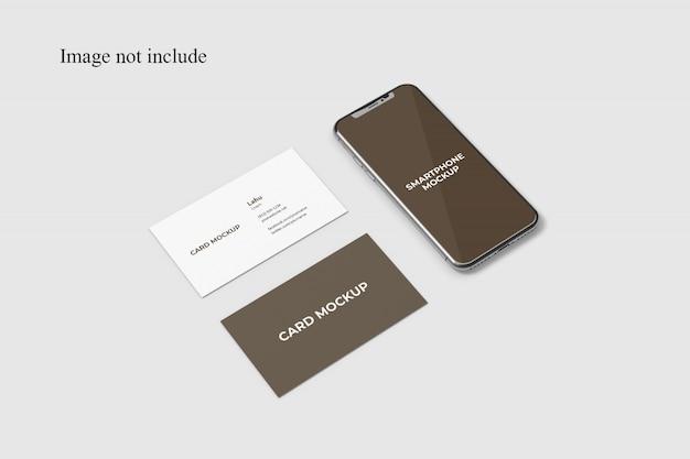 Cartão de visita de perspectiva e maquete de smartphone