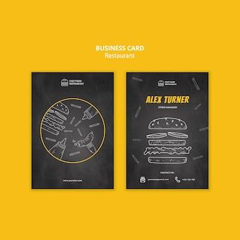 Cartão de visita de restaurante fast food