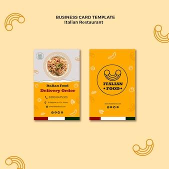 Cartão de visita de restaurante italiano