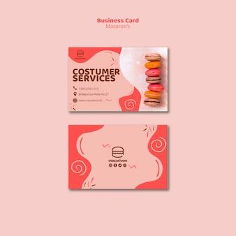 Cartão de visita de serviços ao cliente macarons