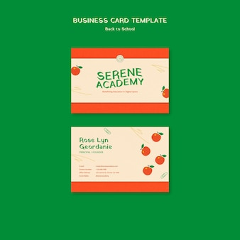 Cartão de visita de volta às aulas