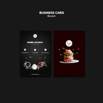 Cartão de visita do design do restaurante da refeição matinal