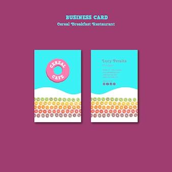 Cartão de visita do restaurante do café da manhã do cereal